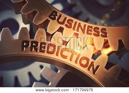 Business Prediction on Mechanism of Golden Cog Gears with Glow Effect. Business Prediction on the Golden Metallic Gears. 3D Rendering.