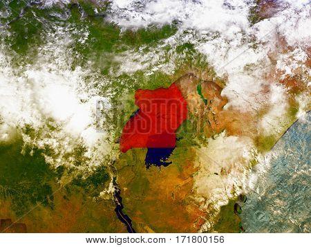 Uganda On Illustrated Globe