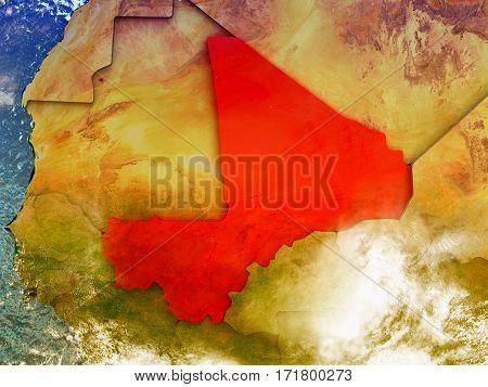 Mali On Illustrated Globe