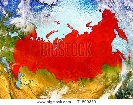 Russia On Illustrated Globe