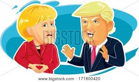 February 8, 2017 Caricature  of Angela Merkel and Donald Trump