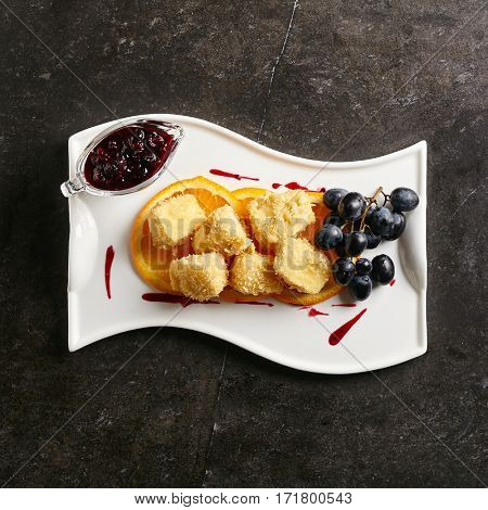 Restaurant Food - Deep Fried Camembert with Sweet Berries Sauce