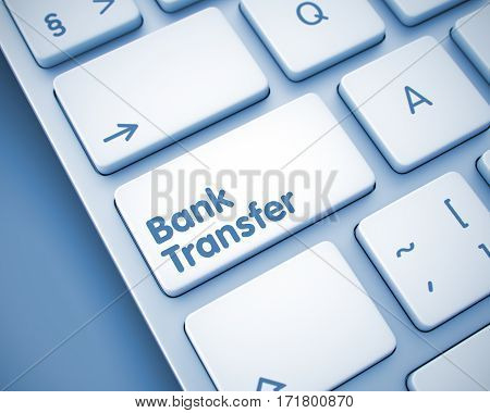 Online Service Concept: Bank Transfer on the Computer Keyboard lying on the Toned Background. Closeup View on Modern Computer Keyboard - Bank Transfer Keypad. 3D Illustration.
