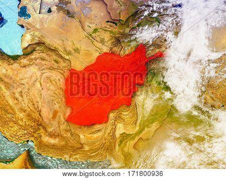 Afghanistan On Illustrated Globe