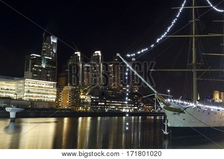 A Sailboat Moored In Puerto Madero, Buenos Aires, Argentina.