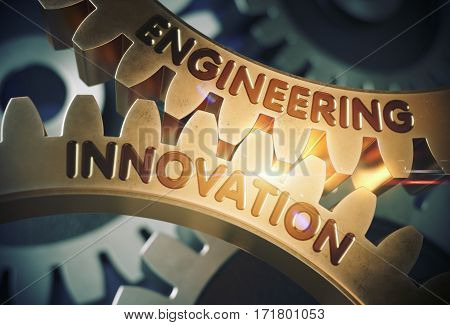 Engineering Innovation on Mechanism of Golden Metallic Gears with Lens Flare. Engineering Innovation on the Mechanism of Golden Cogwheels. 3D Rendering.