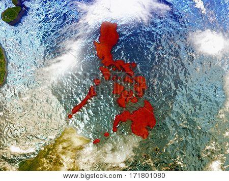 Philippines On Illustrated Globe