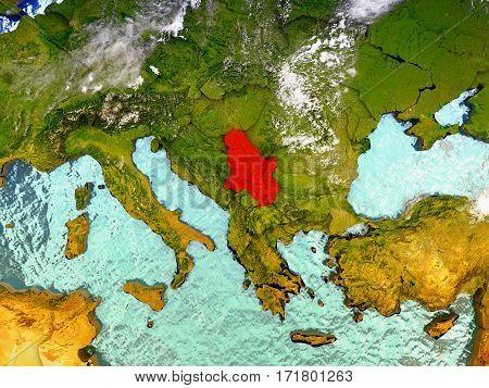 Serbia On Illustrated Globe
