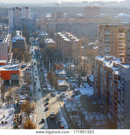 BALASHIKA/ RUSSIA - FEBRUARY 5, 2017: Aerial view of the Sverdlova-street at sunset in city Balashikha, Moscow region, Russia.