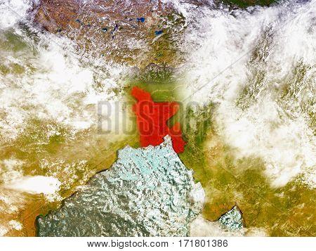 Bangladesh On Illustrated Globe