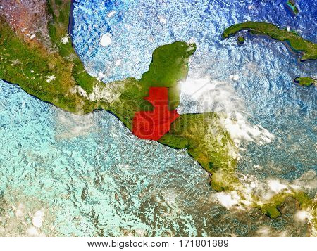 Guatemala On Illustrated Globe