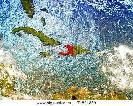 Haiti On Illustrated Globe