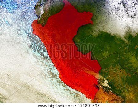 Peru On Illustrated Globe