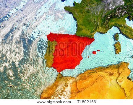 Spain On Illustrated Globe