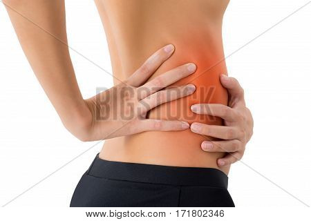 woman hands holding her back and massaging in pain area with red highlighted Isolated on white background.