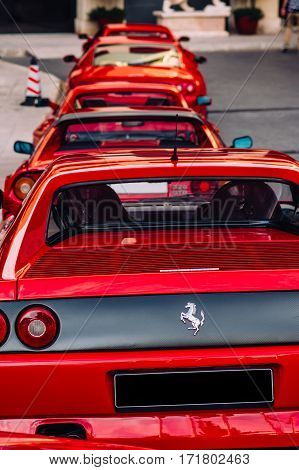 Ferrari show 8 october 2016 in Valletta Malta. Back view of red Ferraries near Grand Hotel Excelsior