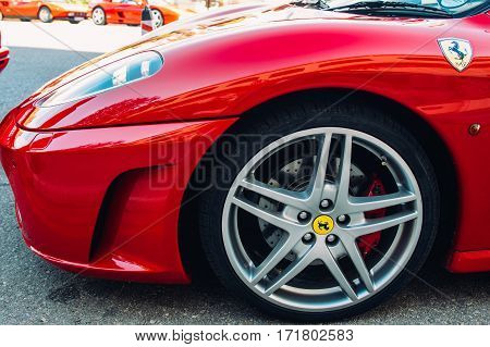 Ferrari show 8 october 2016 in Valletta Malta near Grand Hotel Excelsior. View of wheel of red Ferrari F430