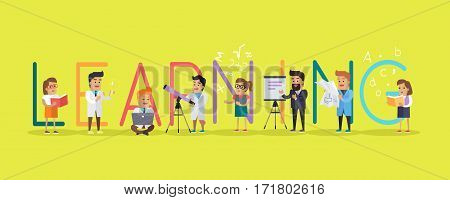 Learning science banner. Human characters in white gowns with scientific equipment. Educational concept. Modern technology. Vector illustration in flat style. For education sources ad, infographics