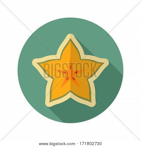 Starfruit Carambola Carom flat icon. Tropical fruit. Vector illustration eps 10