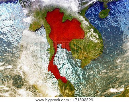 Thailand On Illustrated Globe