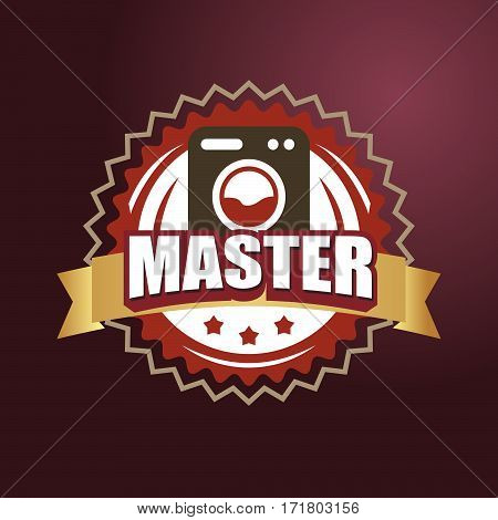 Logo Master lettering Brand symbol. Vector illustration emblem text master and washing machine. For business repair washing machine or service and sales.