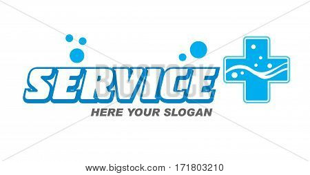 Logo Service lettering Brand symbol. Vector illustration - text service and plus water bubbles. For business repair appliance, repair of bathtubs, faucets, selling water.