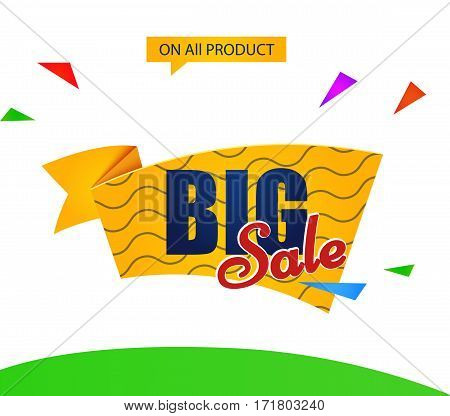 banner template discounts on a white background. big sale, on all product. isolated.sale vector tag