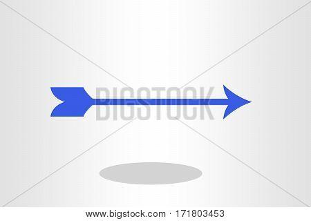 Illustration of blue arrow against plain background