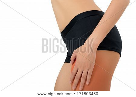 woman holding her beautiful healthy body with massaging thigh in pain area with red highlighted Isolated on white background.