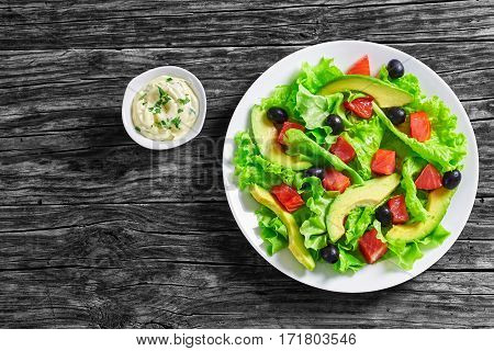 Salad Of  Lettuce, Avocado, Chunks Of Salted Salmon