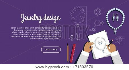 Jewelry design advertisement card. Jewels sketch banner. Jewelry designer works on hand drawn sketch of necklace and earrings. Draft outline of diamond unit design. Project of chain and earrings. Vector