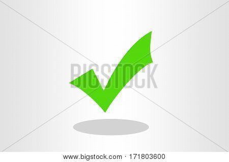 Illustration of green tick mark against plain background