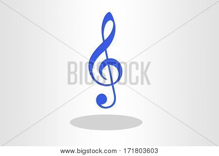 Blue Treble clef illustration against plain background