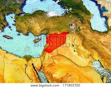 Syria On Illustrated Globe