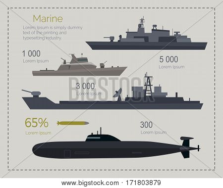 Naval ships infographics. Cruiser, landing and coast guard ships, submarine flat vector illustrations. Military vessel with weapon systems. Army power and armament strength concept. Marine forces type
