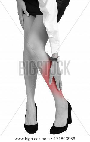 Woman Holding Her Calf In Pain Area.