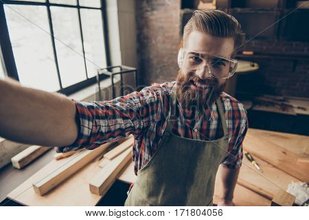 Happy Successful Handsome Cabinetmaker Make Selfie Photo. Stylish Young Entrepreneur With Brutal Hai