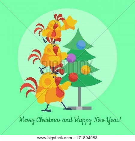 Cartoon roosters family decorating christmas tree. Cute cocks hanging toys on fir flat vector. Merry christmas and Happy New Year. Chinese zodiac calendar animal character. For Xmas invitation card