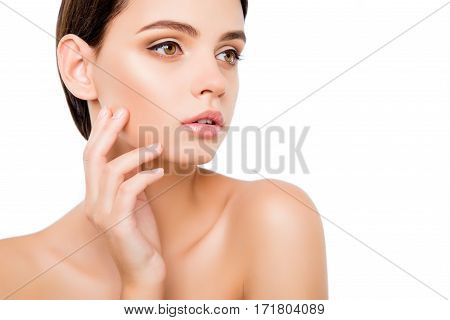 Beautiful Young Healthy Woman Touching Her Face