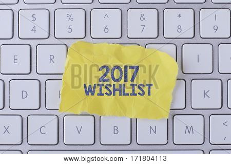 2017 Wishlist Card With Information On The Keyboard.