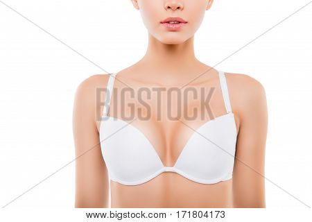 Close Up Of  Sexy Woman With Perfect Chest In White Bra