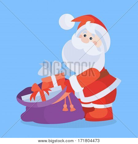 Santa Claus with sack full of gifts cartoon flat vector icon. Christmas presents from Santa. Celebrating Merry Christmas and Happy New Year concept. For Christmas greeting card, holiday invitations