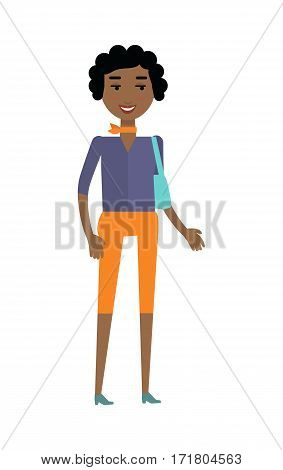 Young african black woman with bag isolated on white. Beautiful afro american girl in blue blouse and orange breeches with fashionable scarf on her neck. Part of series of people of the world. Vector