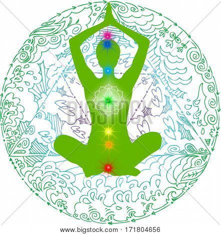 Lotus pose green mandala. Meditation asana with colored chakra points.
