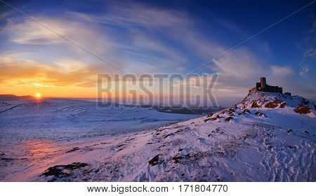 Enisala fortress in winter, Dobrogea, Romania