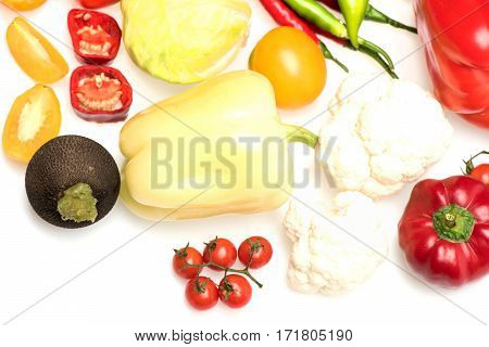 Colorful Vegetables, Cherry Tomato, Radish, Cabbage And Capsicum Pepper