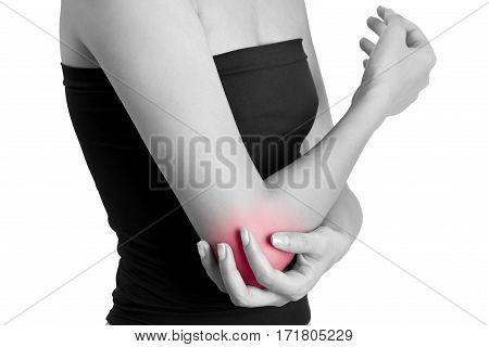 Woman Holding Her Elbow With Red Highlighted.
