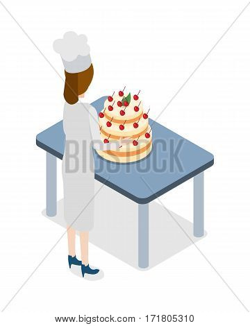 Restaurant. Confectioner standing near blue table with huge cake. Pastry Woman in white clothes, blue shoes and high hat is going to take five-tiers cake decorated with cherries. Flat design. Vector