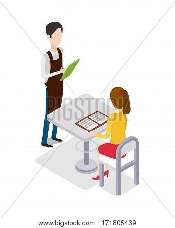 Male waiter in uniform with green notebook standing near table and taking customer order at restaurant. Girl with brown hair sitting at white table and looking through menu. Flat design. Vector
