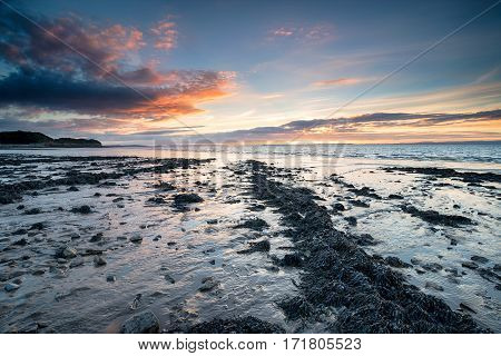 Clevedon Beach At Sunset